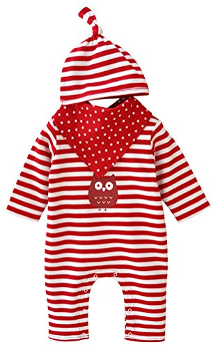 One Piece Baby Boys Girls Striped Romper Pajamas+ Hat Set,6-12 Months (Valentines Outfits For Baby Girls)