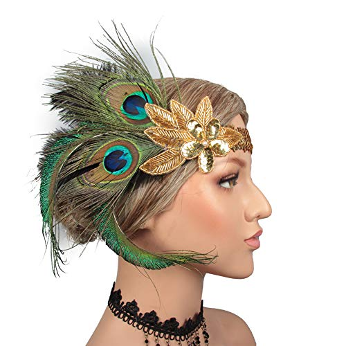 CHUANGLI Women's Peacock 1920s Flapper Headband Roaring 20s Sequined Headpiece Great Gatsby Hair Accessories ()