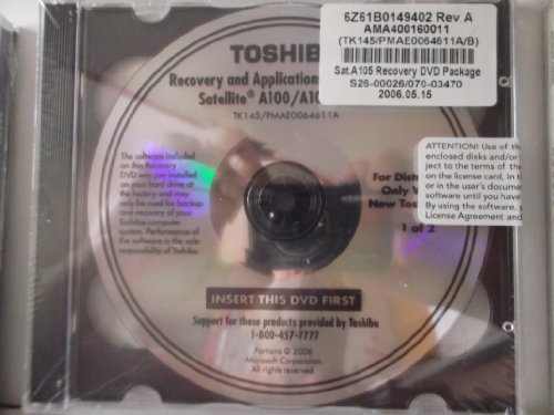 (jewel case)Toshiba Recovery and Applications /Drivers Media..sattelite A100/a105..2 Disc