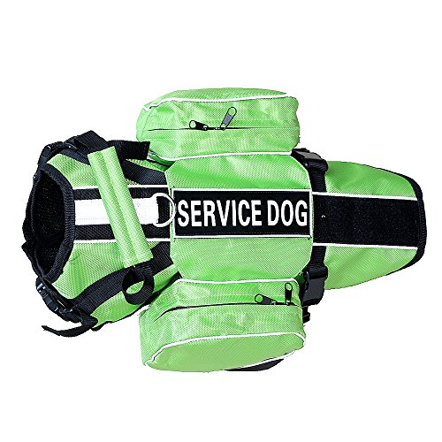 (haoyueer Service Dog Backpack Harness Vest Removable Saddle Bags with Label)