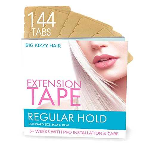 Hair Extensions Tape REGULAR Hold Fits Most Tape in Hair Extensions, 4cm x .8cm Tape for Extensions, Professional Double Sided Extension Tape by BIG KIZZY HAIR