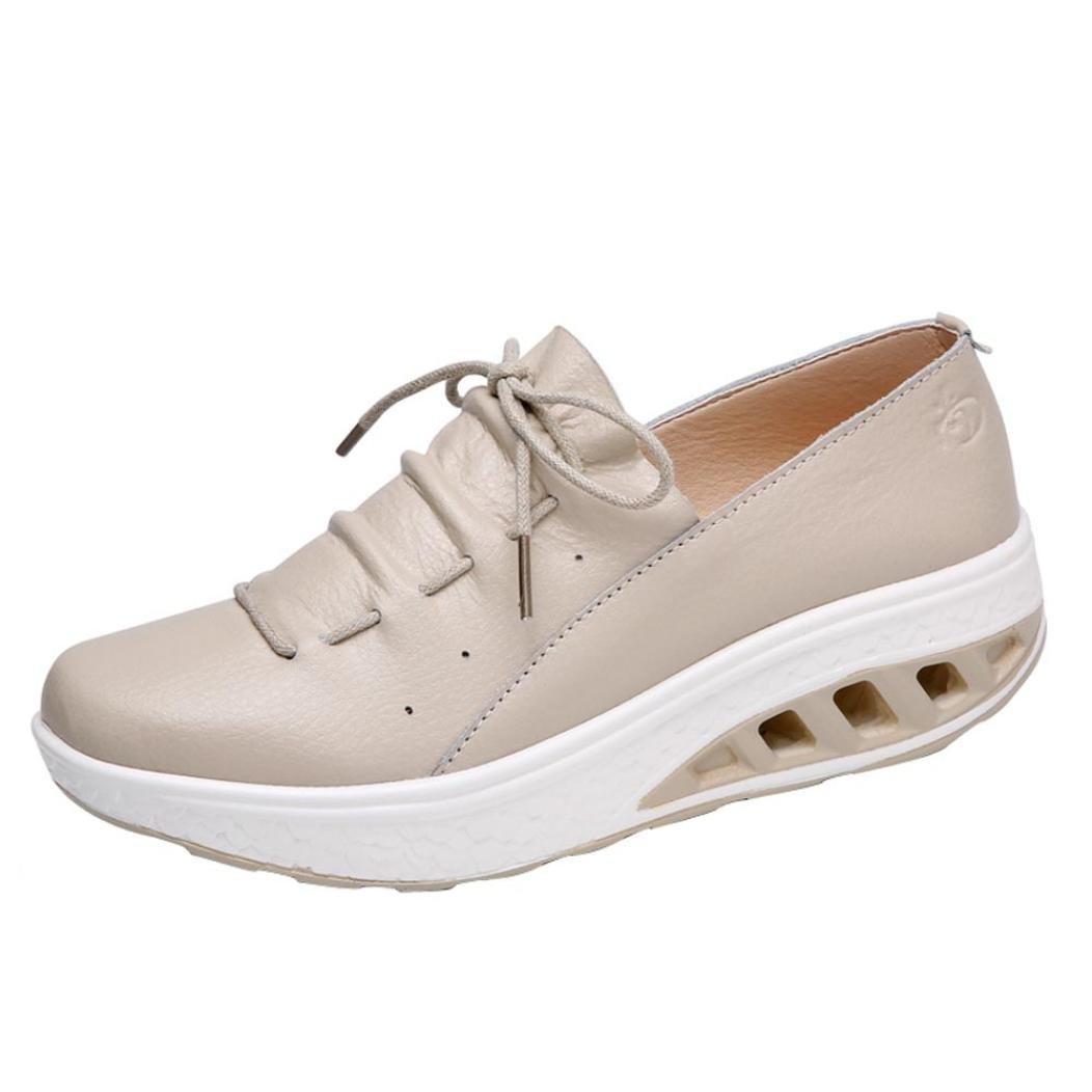 Sunshinehomely Women Girls Sport Running Shoes, Casual Comfortable Platform Walking Shoes Air Cushion Wedges Sneakers Shake Shoes (Khaki, US:5.5)
