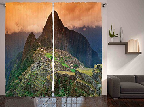 Ambesonne City Art Decor Collection, Machu Picchu Photo South America City of Ruins Mountain, Living Room Bedroom Curtain 2 Panels Set, 108 X 84 Inches, Yellow Blue Orange