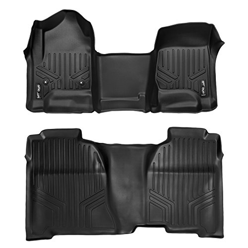 SMARTLINER Floor Mats 2 Row Liner Set Black for Crew Cab 2014-2018 Silverado/Sierra 1500 - 2015-2019 2500/3500 -