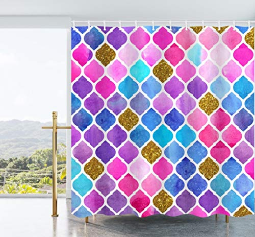 Ao blare Watercolor Mosaic Shower Curtain Abstract Geometric Pattern Kaleidoscope Effect Moroccan Retro Artwork Print Waterproof Polyester Fabric 72 x 72 Inches