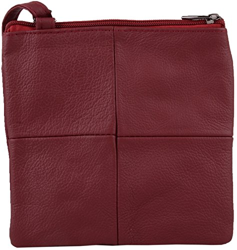 Small Ladies Bag Burgundy Shoulder Womens Body with Features Multiple Leather Cross gxxS61qa