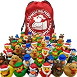 50 Christmas Holiday Rubber Ducks Bulk Variety Pack with 1 Special Delivery from The North Pole Drawstring Backpack Bag - Christmas Party Favors - Stocking Stuffers