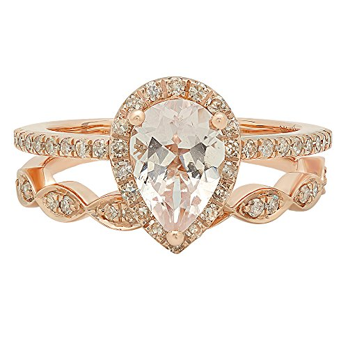14K Rose Gold 9X6 MM Pear Gemstone & Round Diamond Ladies Engagement Ring With Matching Band Set