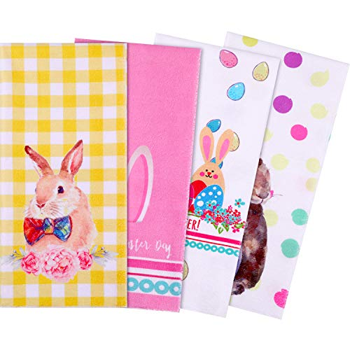 (Yaomiao 4 Pieces Easter Dish Towel, Egg Bunny Dish Towels Kitchen Hand Towels for Home Kitchen Supplies, 28 x 20 Inches)