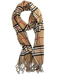 "Soft Plaid Check Winter Scarf Warm Oblong 12""x72"" Fringe Unisex Camel"