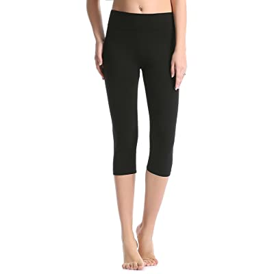 ABUSA Cotton Yoga Capri Pants Women's Tummy Control Workout Leggings Non See-Through Fabric