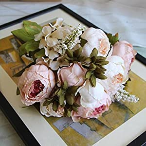 XIAOHESHOP XHSP 1Bouquet 11 Heads Artificial Peony Flower Leaves Home Wedding Party Decor Pink 3