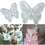 2PCS Butterfly Cake Cookies Cutter Plunger Sugarcraft Decorating Fondant Mold