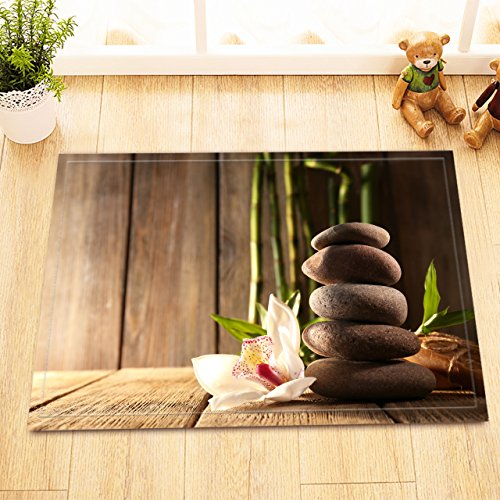 LB Zen Massage Stone Orchid Bamboo Rustic Wood Plank Print Small Rug for Toilet, Non Slip Rubber Backing Soft Microfiber Surface, Relaxing Meditation Spa Bathroom Decor 15 x 23 Inches by LB