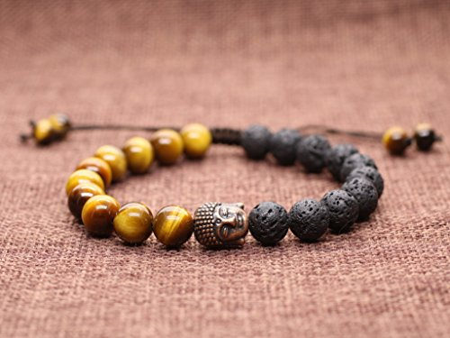 AmorWing Adjustable Mens Womens Mala Prayer Beads Lava Stones Buddha Bracelet
