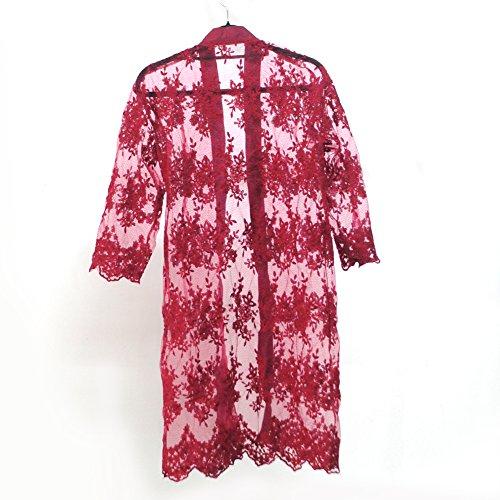 夏の刺繍超薄型サンプロテクションウェア/女性ロングセクションアイスシルクニットコート/通気性肌に優しい純粋なサンスクリーンショールカーディガン(XL,ワインレッド)