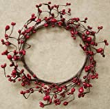 Red Bean Pip Berry Ring Mini Wreath Country Primitive Floral Décor