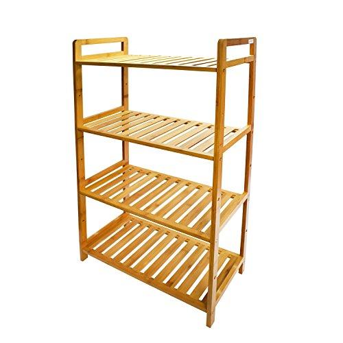 cyanbamboo 4 tier bathroom shelf bamboo storage shelf adjustable bamboo rack bookshelf for bathroom kitchen living