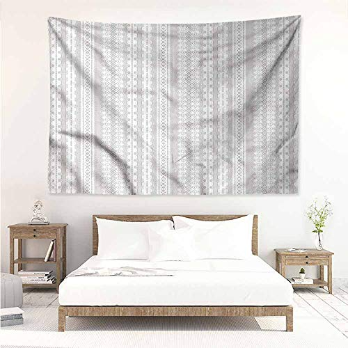 (Sunnyhome Tapestry Hippie,Grey and White Lace Style Stripes,Occlusion Cloth Painting,W60x51L)