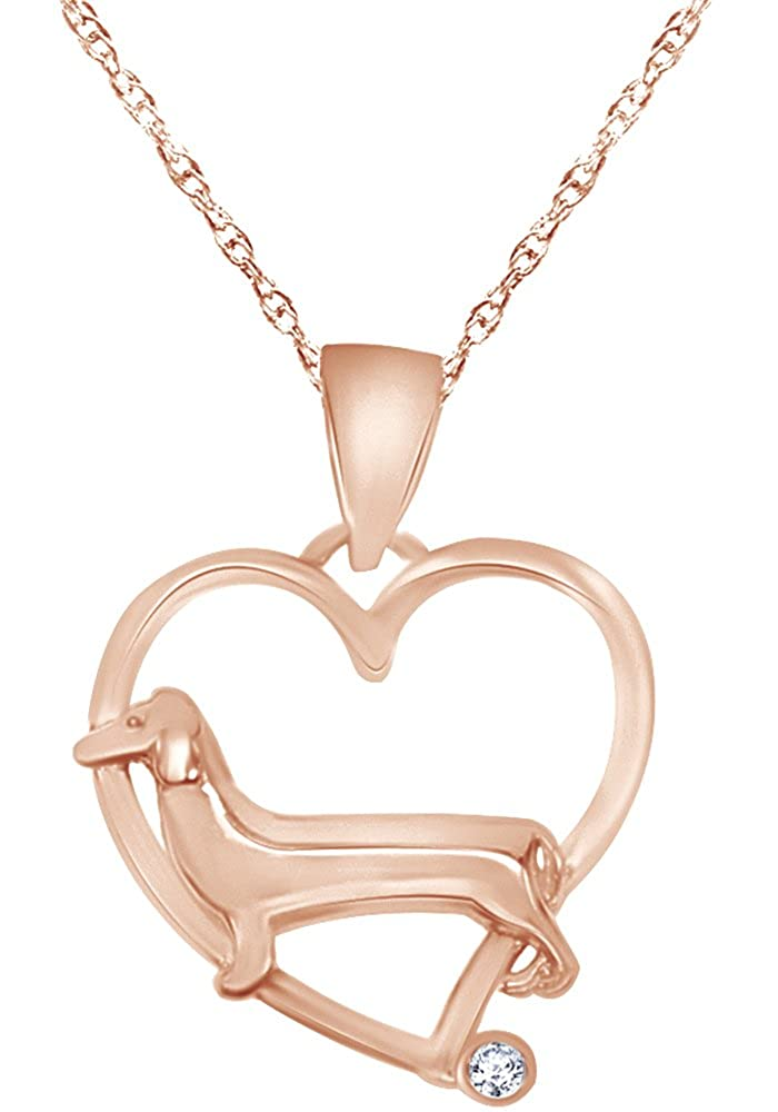 Wishrocks Cute Dachshund Dog Heart Pendant Necklace in 14K Gold Over Sterling Silver