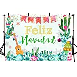 MEHOFOTO 7x5ft Feliz Navidad Holiday Fiesta Backdrop Mexican Merry Christmas Party Winter Snowflake Photography Background Cactus Decoration Event Dessert Table Banner Background Photo Booth Props