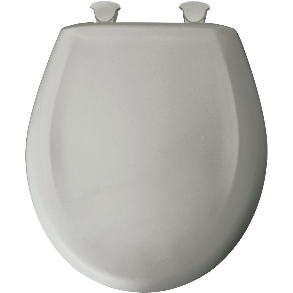 Bemis 200SLOWT 162 Lift-Off Plastic Round Slow-Close Toilet Seat, Silver