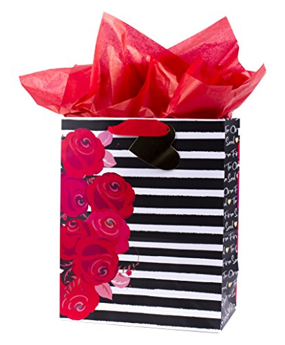 Hallmark Mahogany Large Gift Bag with Tissue (Floral & Stripe) Roses Gift Bag
