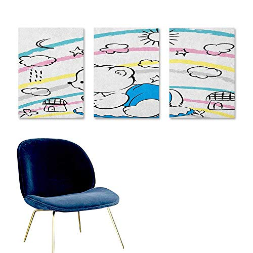 (J Chief Sky Bear,Wall Picture Decoration Children Kids Theme Cute Doodle Toy with Clouds Sun Moon and Houses Colorful Stripes Mural Wallpaper Multicolor W24 x L36)