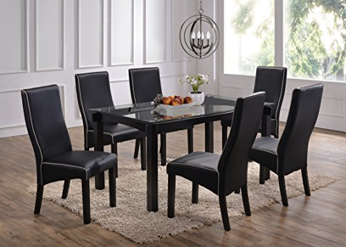 Glass Dinette Sets (Kings Brand Wood and Glass Dining Dinette Set (Table & 6 Chairs,)