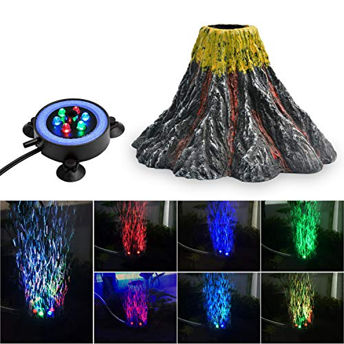 NICREW Aquarium Volcano Ornament Kit, Bubbler Decorations for Fish Tank, Aquarium Air Bubbling with LED Light