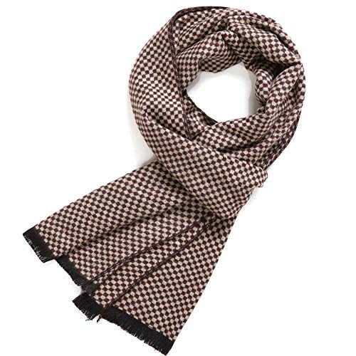 FULLRON Men's Cashmere Cotton Scarf Silky - Warm Scarves (Coffee, Beige)