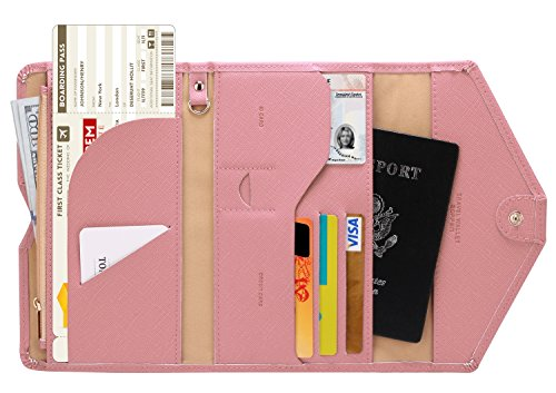 Zoppen Mulit-purpose Rfid Blocking Travel Passport Wallet (Ver.4) Tri-fold Document Organizer Holder, 6 Quartz Pink ()