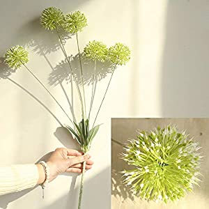 Glumes Artificial Flowers Dandelion 5 pcs Real Touch Realistic Single Fake Bright Small Flowers White Plants for Home Wedding Decoration 56