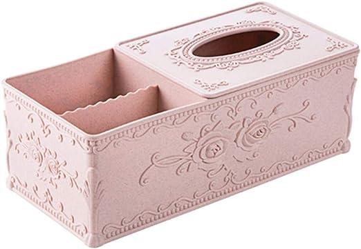 NUOMIZAI Caja de pañuelos-Caja de pañuelos Rectangular de plástico de 2 Piezas, Caja de Almacenamiento de Escritorio para el hogar, contenedor de servilletas, A: Amazon.es: Hogar