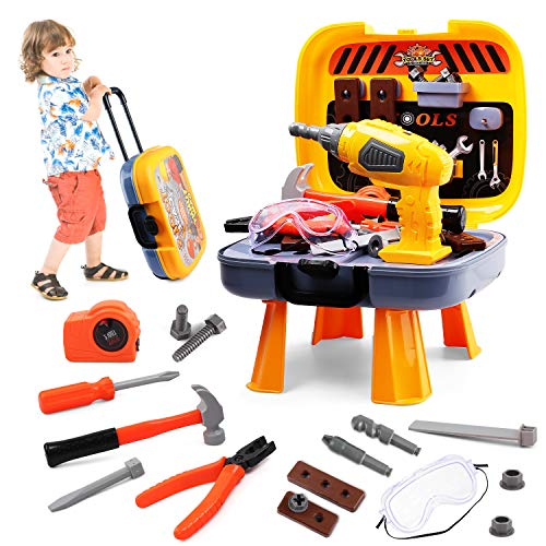 Hanmulee Kids Tool Set, 45pcs Childrens Toy DIY Tool Kit with Electric Drill, Kids Workbench Pretend Play Tool Box for Age 3 4 5 6 7 Toddlers Boys
