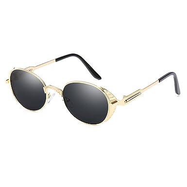 Juleya Vintage Gothique Steampunk lunettes de soleil pour hommes femmes protection UV cadre en métal rond objectif C4 ehw8iG