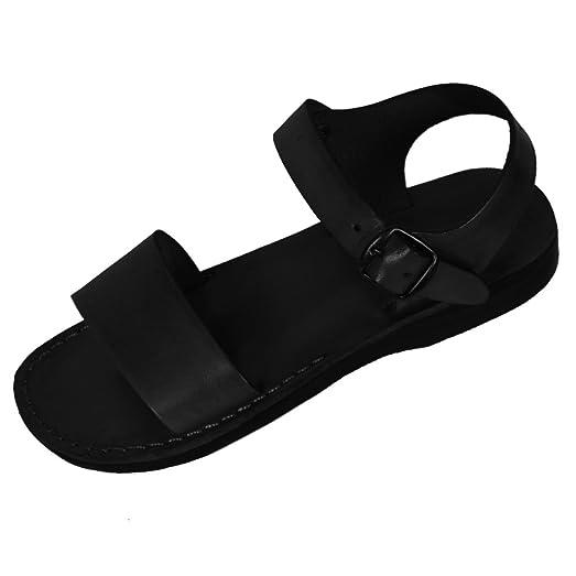 Black Genuine Leather Roman Jesus Sandals #912 sizes US Womens 6-14 EU 36-46 (US Womens 7 EU 38)