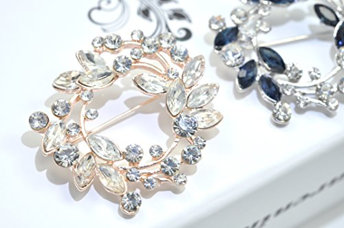 Gyn&Joy Clear Crystal Rhinestone Floral Wreath Pin Brooch BZ005 (Crystal) by Gyn&Joy (Image #2)