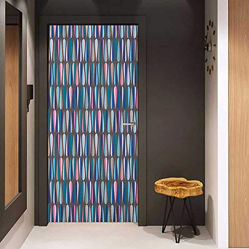 Onefzc Soliciting Sticker for Door Mid Century Modern Style Retro Pattern with Droplet Shapes Mosaic in Tones Mural Wallpaper W17.1 x H78.7 Multicolor