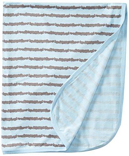 Coccoli Baby Boys' Rail Print Jersey Knit Cotton/Modal Blanket, Slate/Blue, One Size