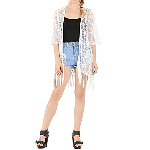 Laixing Buena Calidad Hollow Lace Crochet Tassels Fringed Blouse Jacket Top 9028