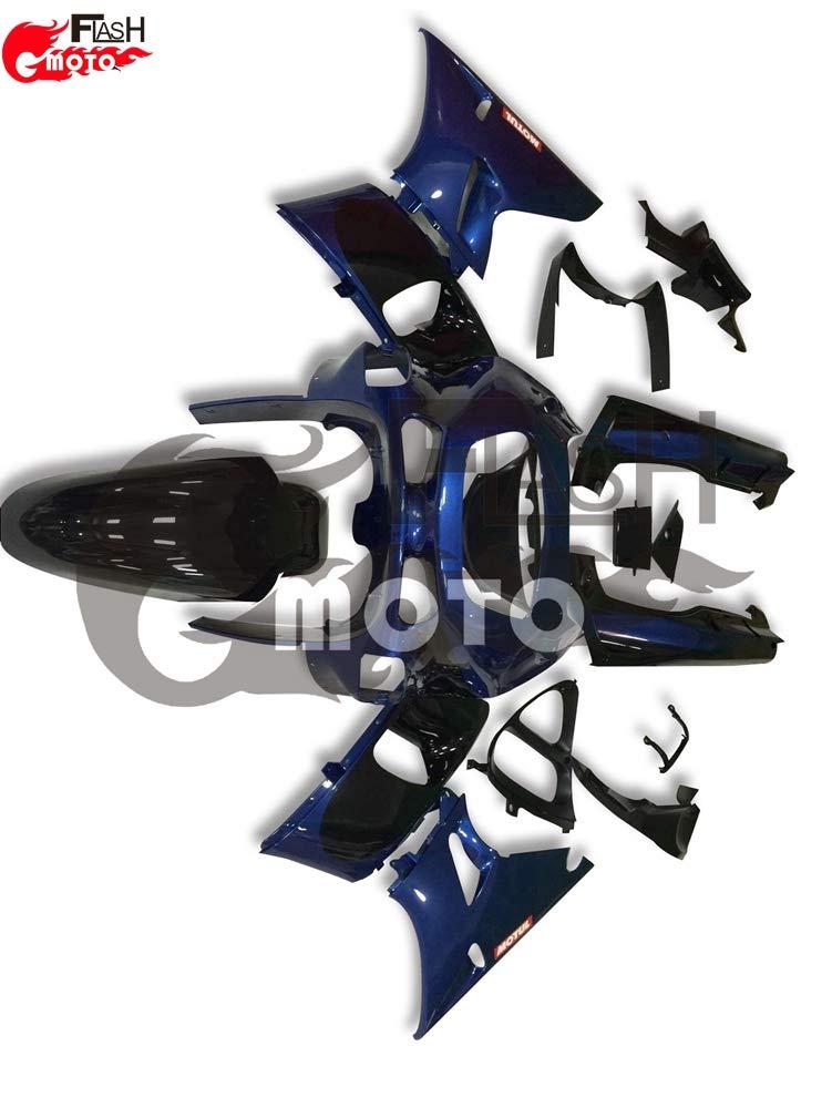 FlashMoto kawasaki 川崎 カワサキ ZZR400 1993 94 95 96 97 98 99 2002 03 04 05 06 07用フェアリング 塗装済 オートバイ用射出成型ABS樹脂ボディワークのフェアリングキットセット (ブルー,ブラック)   B07L8976V1