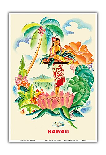 Pacifica Island Art Tropical Abundance - Matson Lines to Hawaii - Vintage World Travel Poster by Frank Macintosh c.1940s - Hawaiian Master Art Print - 13 x 19in (Hawaii Poster Travel)