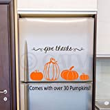 "This is a high quality removable decal made in the USA by Wall Sayings Vinyl Lettering. This listing is for over 30 pumpkin decals in Orange vinyl (assorted sizes from 1""-8"" tall) and 1 ""give thanks"" decal in brown vinyl. Great for holiday de..."