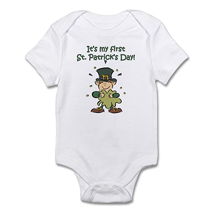 8cc2617f855aa CafePress Baby s First St. Patrick s Day Creeper Cute Infant Bodysuit Baby  Romper Cloud White