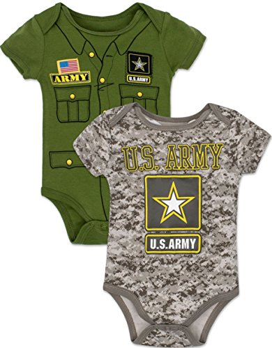 Baby Boys' US Army Onesies - 2 Pack: Solid Green Uniform and Allover Print Camo (6-9 Months) - Baby Army Uniform