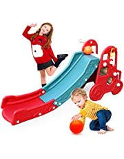 Baby Slide Climbing Toys 4 in 1 Playset for Toddlers Play Slides for Kids Indoor and Outdoor Jungle Garden Activity Gym Playground Sets for Backyards for Kids Age 3-5 (red)