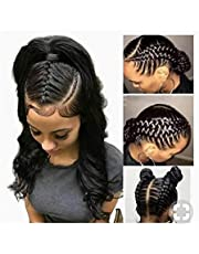 LUKEEXIN Transparent Full Lace Wigs Human Hair Wigs With Baby Hair Body Wave Wig Natural Hair For Women Black Peruvian Remy Hair (Color : Black)