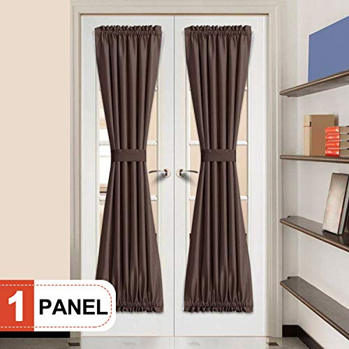 French Drape - Rose Home Fashion Elegance Blackout Sidelight Panel Curtains 25W by 72L Inches-Side Lights Front Door Curtain/Panel-Chocolate(25x72)