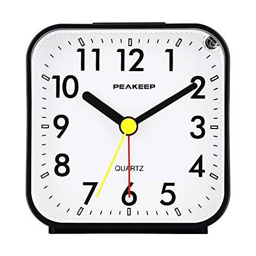 (Peakeep Small Battery Operated Analog Travel Alarm Clock Silent No Ticking, Lighted on Demand and Snooze, Beep Sounds, Gentle Wake, Ascending Alarm, Easy Set (Black))